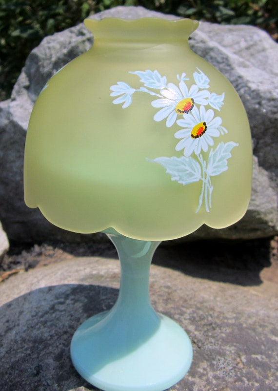 Westmoreland Candle Fairy Light Daisies Almond Mint Green Glass Satin