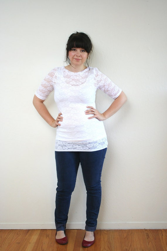 Size Large- white lace top- sheer floral blouse
