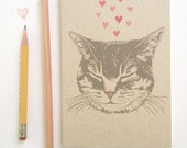 Cute Tabby Cat Journal, blank sketch book, recycled paper, small pocket size, kitty love design with pink hearts
