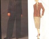 Vogue 1460 Anne Klein II American Designer Suit Pattern Uncut Blazer Jacket Skirt Pants Plus Size 14 16 18 Out of Print OOP Super RARE