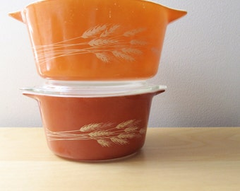 autumn wheat nesting pyrex casserole rust red orange baking dish
