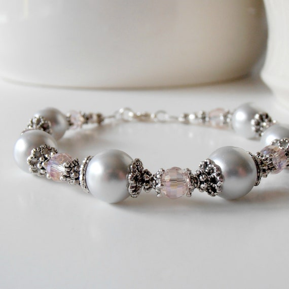 Light Gray and Pink Pearl Bracelet, Bridesmaid Bracelet - DISCONTINUED ITEM CLEARANCE - Quantities as Posted - No Changes - 6 Left