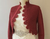 Dusty Pink Hand Knit Sweater Knitting Knitted Cardigan Crochet Border Jacket 3/4 Sleeve Bolero  Shrug