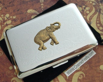 Elephant Business Card Case Silver Plated Vintage Inspired Style Mixed Metals Gothic Victorian Steampunk Cigarette Case