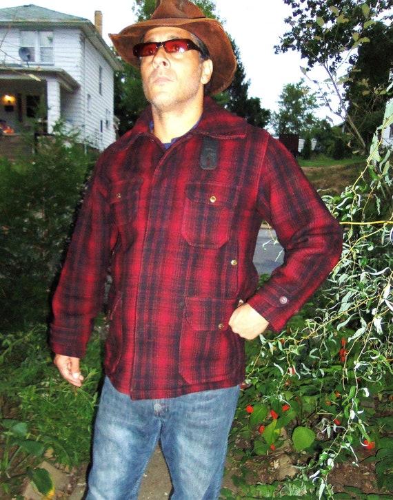 Vintage Wool Plaid Jacket Red Black Woolrich Hunting Field Coat size 42 mens