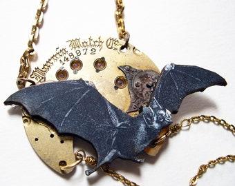 Steampunk Necklace Vampire Bat on Watch Movement