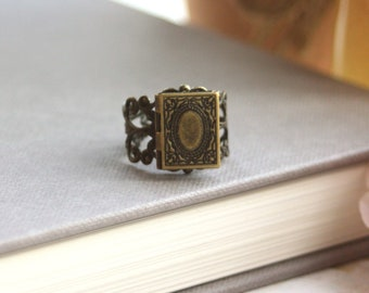 Book Locket Tiny Librarian Locket Ring A Book Locket Vintage Style Adjustable Ring Bookworm Unique Secret notes Wizard Book. Book of Spells.