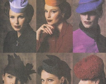 Pillbox Style Hat, Bird Cage Millinery Vintage Styled  Retro 1940s  Vogue 7657, P905 Sewing Pattern WW2