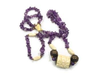 Amethyst Necklace, Carved Ox Bone, Beaded Necklace, Designer, Sandra David, Bohemian, Boho Statement, Bohemian, Purple Necklace, Ethnic