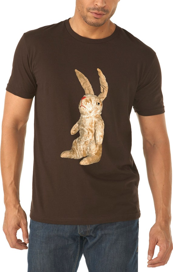 rabbit shirt - vintage design HONEY BUNNY - men's dark chocolate cotton crew neck rabbit t-shirt