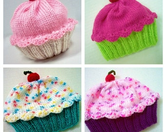 Baby Toddler Cupcake Hat - Handmade Hand Knit -  choose your own colors of frosting and cake
