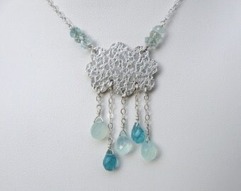 Silver Cloud Necklace with Gemstone Raindrops- Metalwork, Apatite, Aqua Chalcedony, Aquamarine