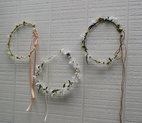 Daisy Hair wreath headband flower crown -Kaylee- Bridal Wildflower Hairpiece Hippie wedding accessories Bride headwreath flower girl halo
