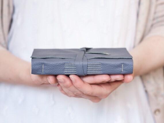 Leather Journal - Steel Blue Grey - Handbound Leather Book - 6 x 4