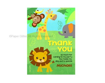 Safari Jungle Animal Zoo Thank You Card Printable PDF or JPG