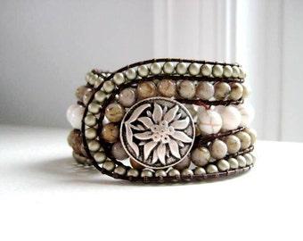Gemstone Beaded Leather Cuff Bracelet - Neutral Perfection beaded gemstone bracelet