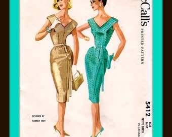 UNCUT * 1950's McCall's Sewing Pattern 5412 * Plunging V neck PARTY Dress by Designer: Hannah Troy * Bust 36