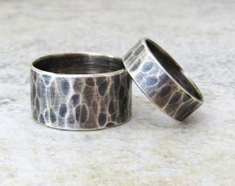 Silver Wedding Ring Set Rustic Wedding Bands Hammered Silver Unique Wedding Rings Distressed Engraved Custom Rings for Him and Her -Sea Fog