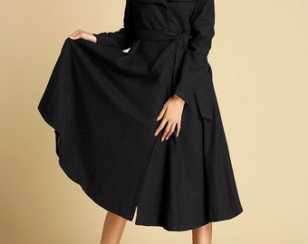 Black wool coat with double folded collar wool jacket (356)