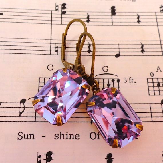 Swarovski Alexandrite Earrings Lilac Pale Purple Wisteria Retro Emerald Cut Crystal Prom Earrings