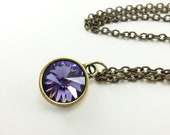 Violet Crystal Necklace Crystal Jewelry Antiqued Brass Modern Minimalist Necklace Violet Rivoli