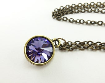 Violet Crystal Necklace Crystal Jewelry Antiqued Brass Modern Minimalist Necklace Violet Rivoli