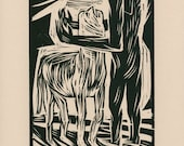 COLLAPSE, Woodcut Relief Print, Hand-printed, Limited Ed