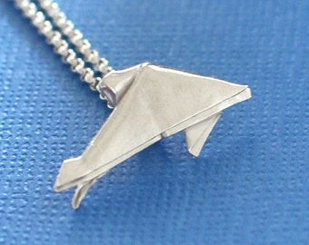 Dolphin Necklace - Modern Origami Jewelry - Silver Origami Dolphin - Folded Dolphin Pendant