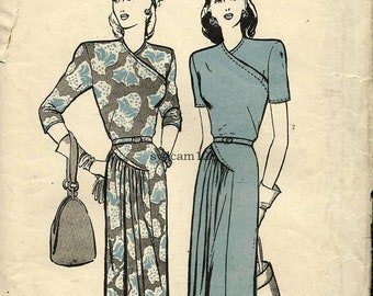 Vintage 1940s Dress Pattern Wrap Bodice Side Pleated Gathered Skirt Curved Seams 1945 Butterick 3509 Bust 30 UNCUT