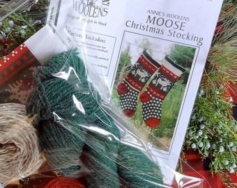 Moose Christmas Stocking Knitting Kit for Hand knitters