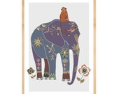 Indian Elephant & Jungle Monkey Art - Safari Nursery - Elephantine - Monkey Baby - Jungle Animals - Modern Wall Décor