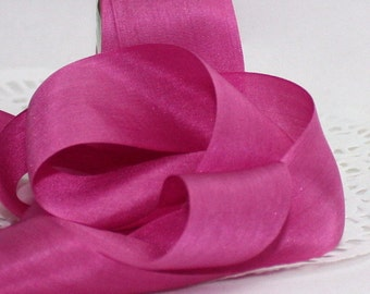 "Hot Pink/Fuchsia Silk Ribbon 1.25"" wide by the yard Weddings, Sewing, Crafts, Gift Wrapping, Bouquets, Bridal Sash,Party Supplies"