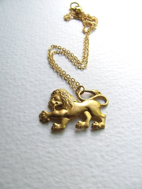 Golden lion charm necklace on delicate 14k gold fill chain, vintage-inspired