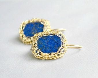 Gold filled and lapis lazuli earrings, crochet earrings, royal blue earrings, handmade gift for her, under 30 USD