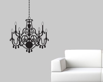 Chandelier Wall Decal - Elegant Wall Sticker - Chandelier Decal - Chandelier Wall Art - Large