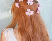 Pink dogwood rose crown bridal tiara woodland boho