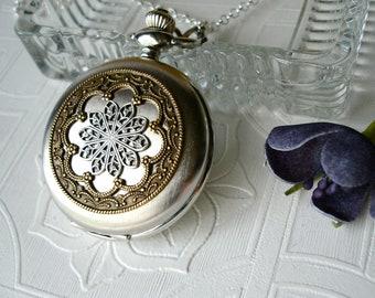 Pocket Watch Locket Pendant Necklace Silver Brass Filigree Mandala Unique Vintage Wedding Romantic Woman's Birthday Anniversary Gift for Her