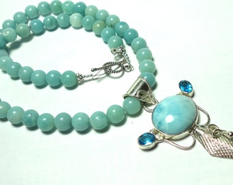 Larimar Pendant and Necklace with Blue Topaz Amazonite and Solid Sterling Silver