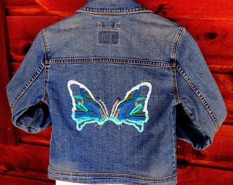 Vintage Jean Jacket, Levi jacket, hand embellished free shipping 80s crop denim jacket -bohemian -hand embroidered, butterfly design, size S