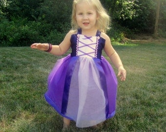Rapunzel Dress: Sparkle purple tutu & straps with pink center, halloween costume, Birthday Party, princess dinner, Easy on off, adjustable