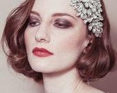 Wedding headband - 'Hattie' rhinestone diamante cap style deco Gatsby bridal headpiece
