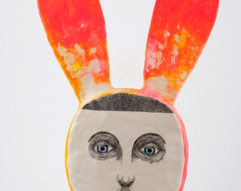 Ceramic Sculpture, Air Dry Clay, Portrait, Hanging Sculpture Hare, Original Pencil Drawing, Mixed Media Art Object, Wall Decoration, 鉛筆画, 彫刻