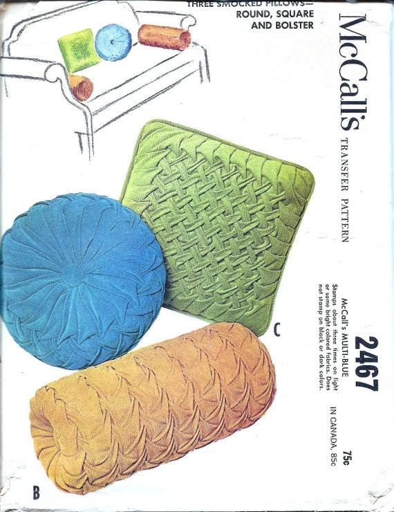 1960s Smocked Pillows Craft Pattern - Vintage Sewing Pattern McCall's 2467 - Extra Transfers