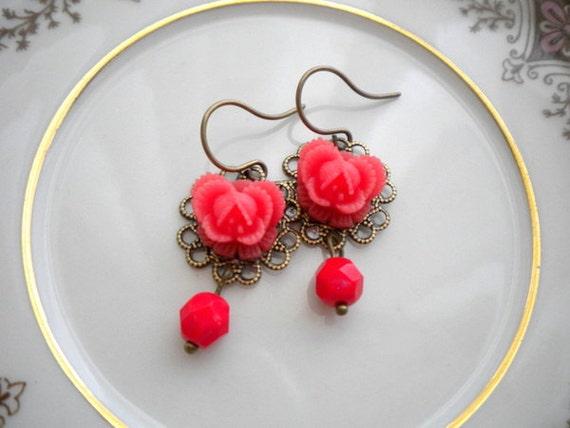 Red Flower Earrings Dangle Red Glass Earrings Flower Cabochon Drop Earrings Red Jewelry Vintage Style Red Earrings Romantic Earrings