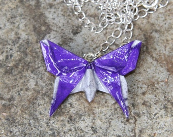 Origami Butterfly Pendant - Purple