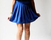 vintage 1980s skirt / 80s blue polka dot skirt / Spotty Dotty Skirt