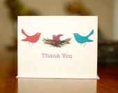 Just Hatched New Baby Thank You Cards - Birds in a Nest on 100% Recycled Paper