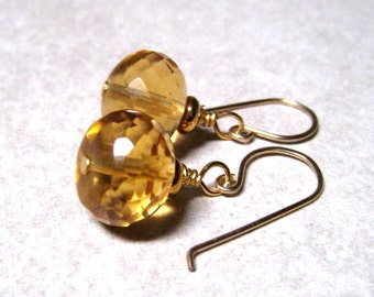 Citrine Earrings,  14K Gold Filled, November Birthstone, Citrine Jewelry, Gold Gemstone Earrings