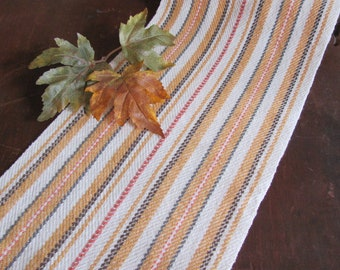 Thanksgiving Table Decor, Rustic Country Modern Farmhouse Long Narrow Bittersweet Gold Autumn Harvest Stripe Artisan Woven Fall Table Runner