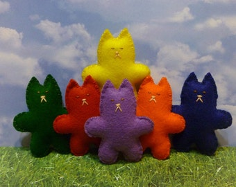 Kids toys plush cats gift set learning rainbow primary colors